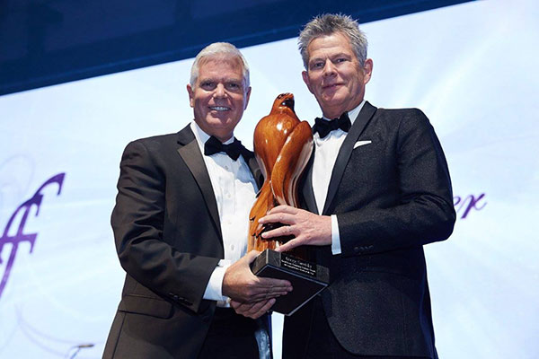 David Foster Foundation Visionary Award Business Leader of the Year 2015 Gregg Saretsky  C.E.0 of West Jet Sculpture 'Visionary of Flight' by Maarten Schaddelee